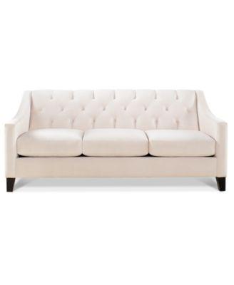 chloe velvet tufted sofa - Macys Living Room Furniture