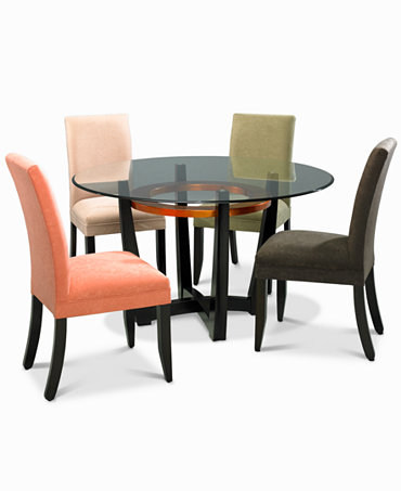 Cappuccino dining room furniture round 5 piece set table for Macys dining room chairs