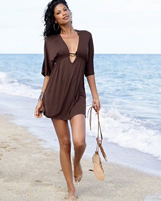 Dotti Jersey Swim Cover-Up with Wood Detail - Cover Ups Swimwear - Women's  - Macy's from macys.com