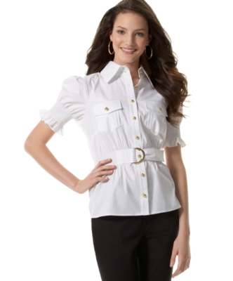 Rampage Short-Sleeve Gold-Button Woven Top - Rampage