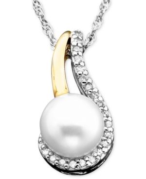 14k Gold & Sterling Silver Cultured Freshwater Pearl & Diamond Accent Pendant
