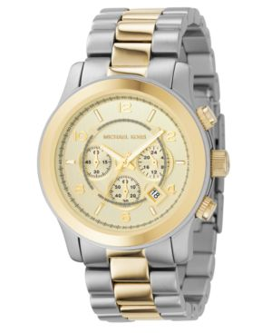 MICHAEL Michael Kors Watch, Men's Chronograph Two-Tone Mixed Metal Bracelet MK8098