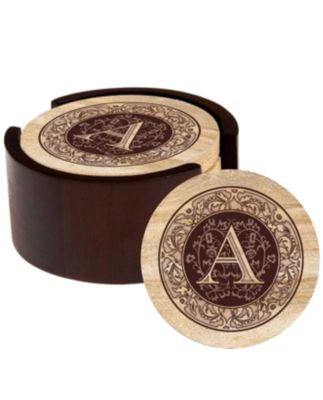 Thirstystone Monogram Coasters with Walnut Holder
