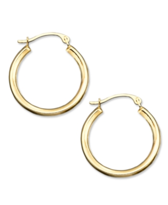 14k Gold Small Polished Round Hoop Earrings - Hoop Earrings