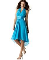 London Times Sleeveless V-Neck Ruched-Waist Halter Dress