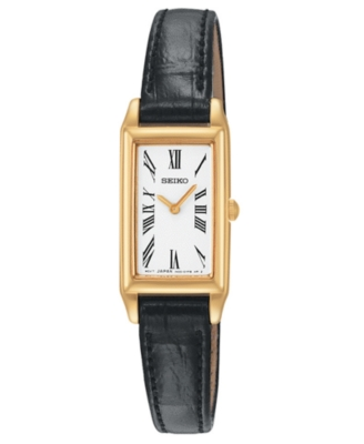 Seiko Watch, Women's Black Leather Strap SUJF80