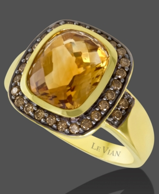 Le Vian 14k Gold Citrine (4-9/10 ct. t.w.) & Chocolate Diamond (2/5 ct. t.w.) Big Stone Ring