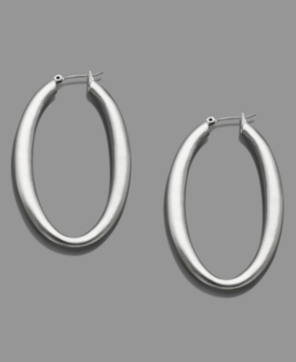 Liz Claiborne Silvertone Large Hoop Earrings