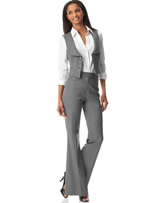 Tahari by ASL Four-Button Vest Pant Suit - Pant Suits Suits & Suit Separates - Women's  - Macy's