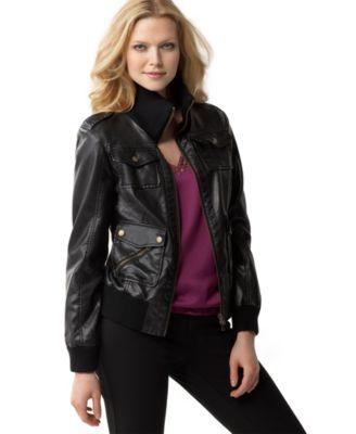 Calvin Klein Petite Jacket Faux-Leather Bomber