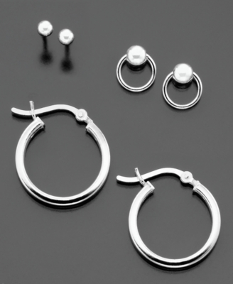 Sterling Silver Stud, Ball and Hoop Earrings Trio