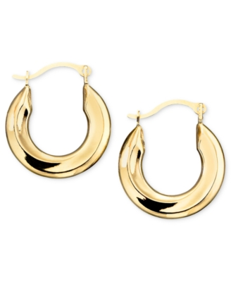 14k Gold Hoop Earrings, Small Polished Tube