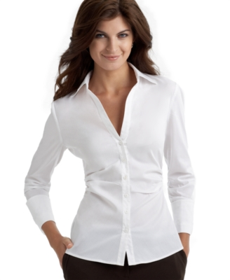 Rafaella Three-Quarter Sleeve Ruched Shirt