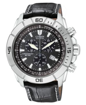 Citizen Watch, Men's Chronograph Black Leather Strap AT0810-12E