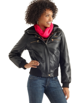 Sean John Jacket, Hooded Leather with Faux Fur Lining