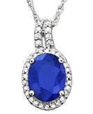 14k White Gold Pendant Sapphire 1-1/2 ct. t.w. & Diamond 9/10 ct. t.w.