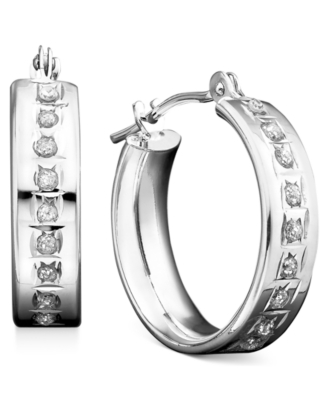 14k White Gold Earrings, Diamond Accent Mini Hoop