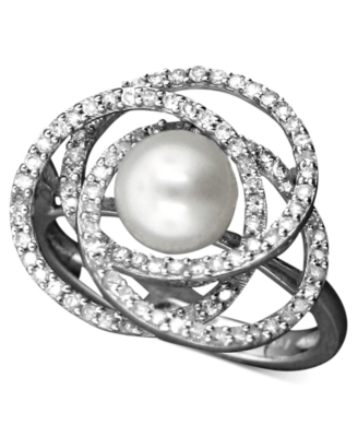14k White Gold Ring, Cultured Freshwater Pearl and Diamond (1/2 ct. t.w.)