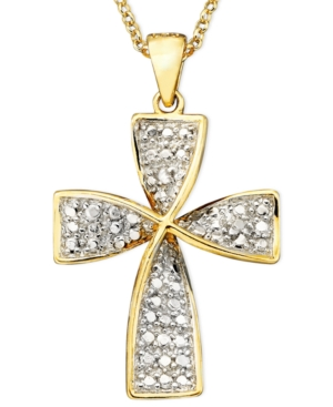 Victoria Townsend 18k Gold Over Sterling Necklace, Diamond Accent Cross Pendant