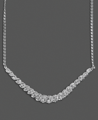 14k White Gold Necklace, Diamond Twist (1 ct. t.w.)