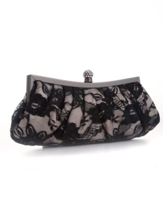 Jessica McClintock Handbag, Satin & Lace Clutch