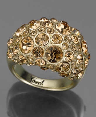 Fossil Ring, Goldtone Crystal Accent