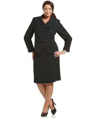 Plus Size Suit, Asymmetrical Five-Button Skirt