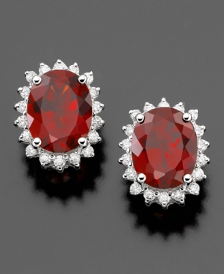 14k White Gold Earrings, Garnet (6-1/2 ct. t.w.) and Diamond (3/8 ct. t.w.)