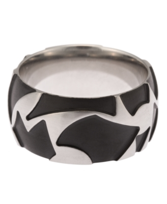 Simmons Jewelry Co. Ring, Men's Stainless Steel Black Tattoo