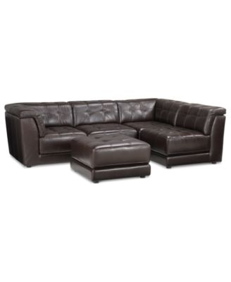 Stacey Leather 5-Piece Modular Sectional Sofa (2 Armless Chairs 2 Square Corners  sc 1 st  Macyu0027s : modular leather sectional sofa - Sectionals, Sofas & Couches