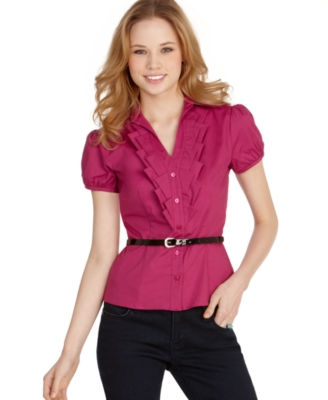 BCX Top, Pleated V-Neck Button Front