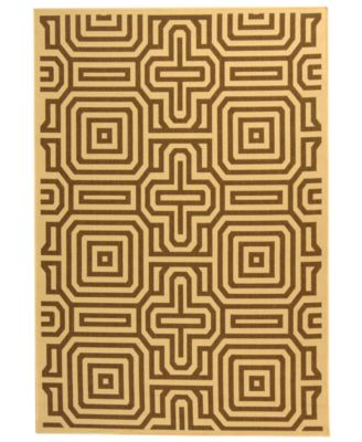 MANUFACTURER'S CLOSEOUT! Safavieh Indoor/Outdoor Area Rug, Courtyard CY2962 Natural / Brown 4' x 5' 7""
