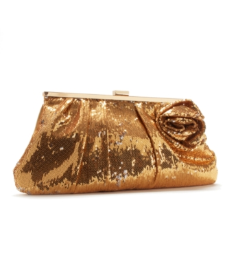 Jessica McClintock Handbag, Sequin Clutch with Rose Detail