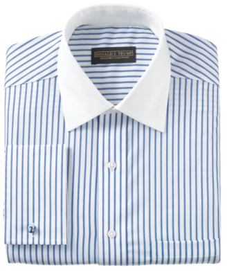 Donald Trump Dress Shirt, Non Iron Blue Bengal Stripe French Cuff