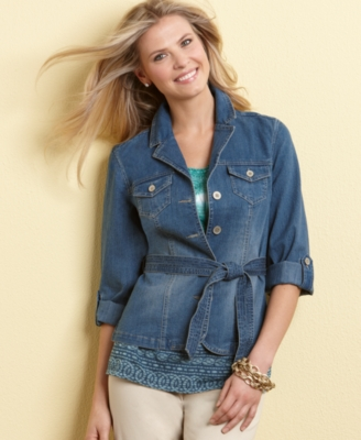 Charter Club Petite Jacket, Denim Belted - Outerwear