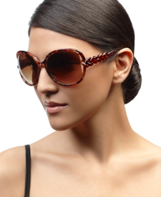 Steve Madden Sunglasses, Oversized Round Animal Print with Braided Temple