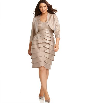 Adrianna Papell Plus Size Dress, Sleeveless Tiered with Jacket