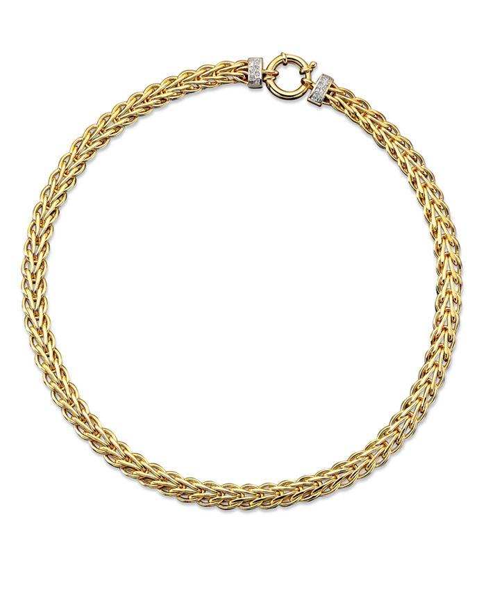 Italian Gold - 14k Gold Necklace, Diamond Spiga (1/8 ct. t.w.)