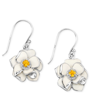 Sterling Silver Earrings, Citrine (1/4 ct. t.w.) and Diamond Accent White Enamel Flower Earrings