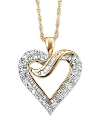 Diamond heart necklace in 14k gold 12 ct tw necklaces diamond heart necklace in 14k gold 12 ct tw mozeypictures Choice Image