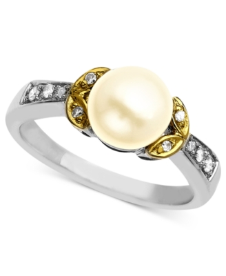 14k Gold and Sterling Silver Ring, Cultured Freshwater Pearl Ring and Diamond Accent