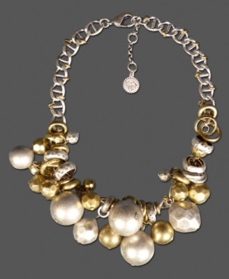 Jessica Simpson Necklace, Goldtone and Silvertone Bead Cluster