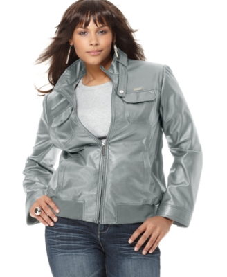 Sean John Plus Size Jacket, Perforated Faux Leather Biker