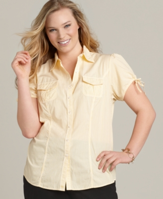 Tommy Hilfiger Plus Size Shirt, Lucy Cap Sleeve Striped Camp