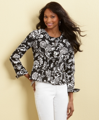 Charter Club Jacket, Long Sleeve Printed Peplum Hem