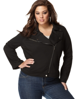 NY Collection Plus Size Jacket, Stretch Motorcyle