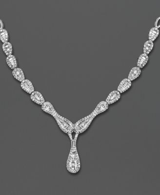 14k White Gold Necklace, Diamond Teardrop (1-1/2 ct. t.w.)