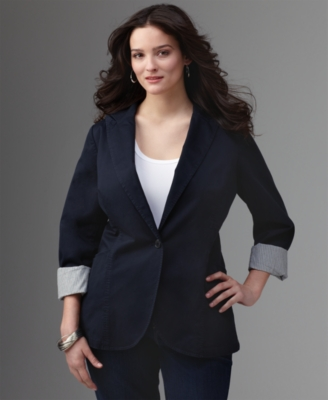 Calvin Klein Jeans Plus Size Jacket, Stretch Cotton Fitted Blazer
