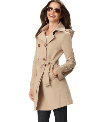 Michael Kors Coat, Hooded Double Breasted Trenchcoat