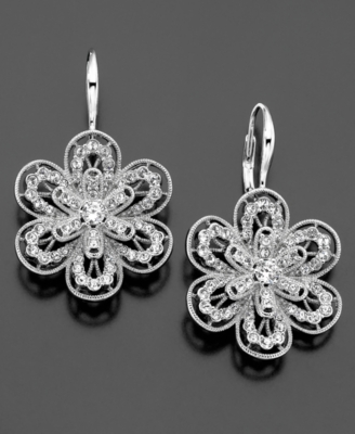 Eliot Danori Earrings, Crystal Accent Flower - Jewelry